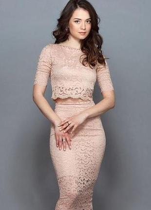 Шикарный лиловый кружевной костюм (топ + юбка карандаш) h&m