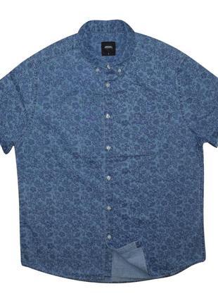 Мужская рубашка джинс туманная в цветочек burton l