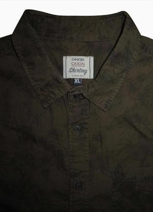 Мужская рубашка туманная хаки в цветочек george casual xl