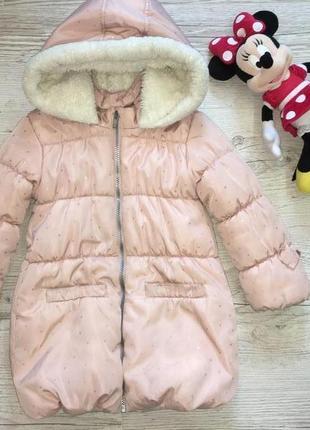 Тёплая зимняя куртка пуховик пальто стильная утепленная 4-5 лет fiore matalan