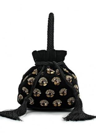 Велюровая\бархатная сумочка-мешок от mango