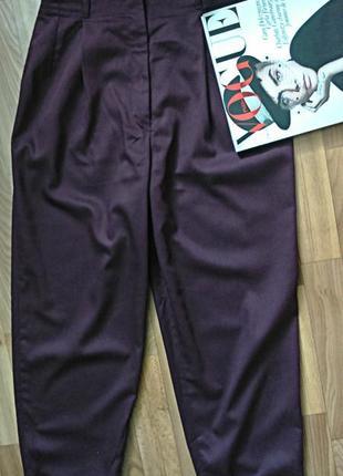Трендовые брюки оттенок марсала, модель-бананы, mom, момсы