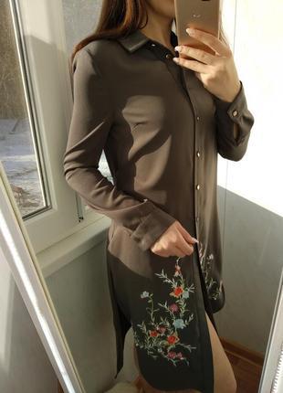 Шикарная удлененная рубашка/платье с вырезом river island
