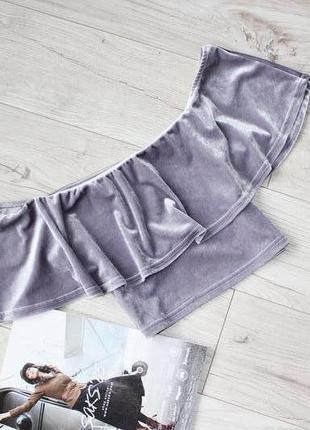 Красивая блуза топ бархатный лиловый воланы открытые плечи 10 м с