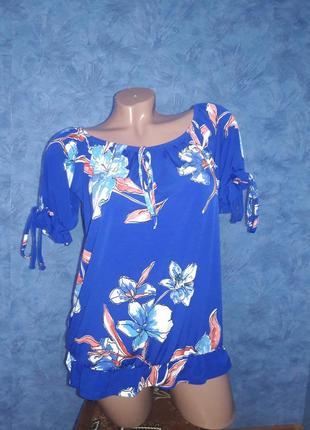 Очень красивая синяя блуза с коротким рукавом