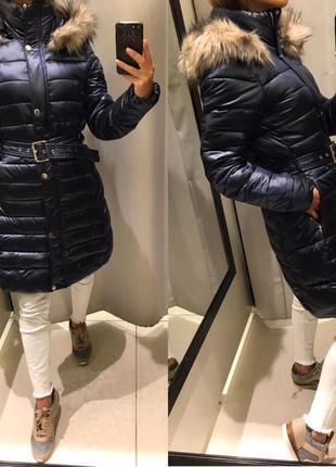 Зимняя куртка reserved синяя перламутр удлинённая пальто, пуховик reserved в наличии