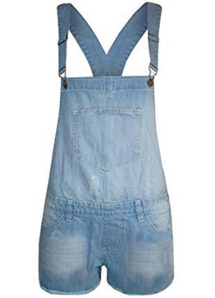 Классный джинсовый комбинезон шорты, в идеале