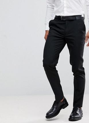 Черные брюки скинни asos, w28 l30