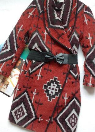 """Роскошное пальто oversize tibet wrap coat """"tu"""" aztec geometric принт"""