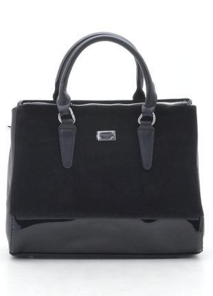 Женская сумка с замшевой и лаковой вставкой 881341р