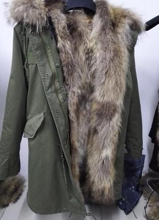 Куртка -парка на меху натуральная рысь