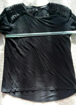 Черная кофта zara вставки под кожу