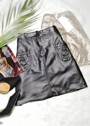Стильная кожаная юбка с карманами patrice breal