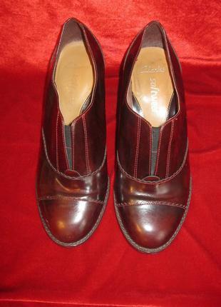 Кожаные винные бордо туфли ботильоны броги оксфорды устойчивый блочный каблук 38