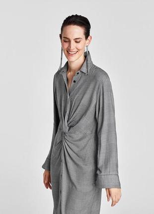 Платье- рубашка в клетку с узлом zara