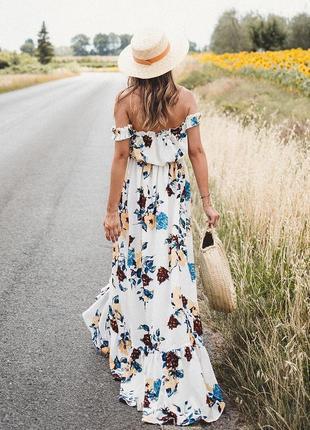 Платье макси asos boohoo с цветочным принтом и открытыми плечами