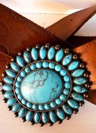 Очень красивый кожаный ремень с натуральной бирюзой !!! сша  !!!