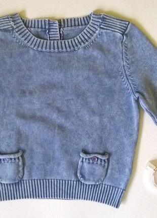Винтажный свитер с эффектом потёртости, вареной джинсы esprit s-m