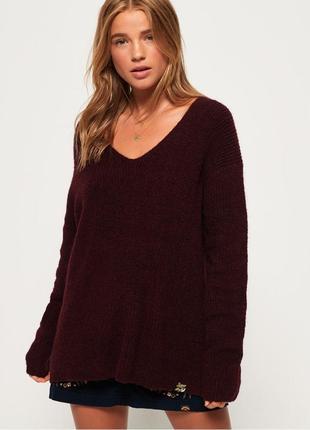 Джемпер свитер цвета марсала бордовый тёплый шерстяной меланж от superdry m
