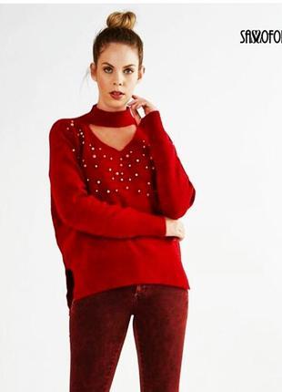 Брендовый красный  свитер sassofono р.м сассофоно