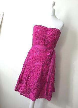Платье открытые плечи цвет фуксия