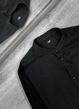 Все размеры! мужская черная рубашка без воротника { стойка }