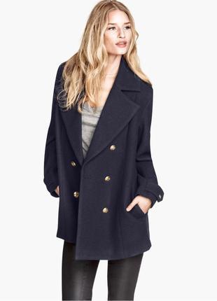 Шерстяное двубортное пальто h&m