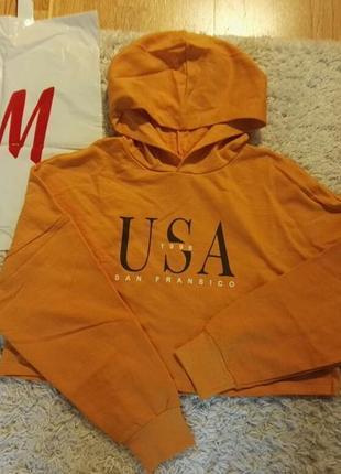 Короткий,  худи, горчичного цвета с капюшоном, размер 36, оверсайз.