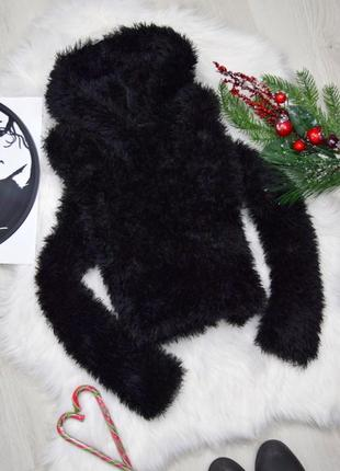 Укороченное чёрный худи топ свитшот травка с капюшоном супер мягкий