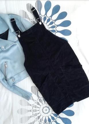 Вельветовый комбинезон сарафан платье мини черный чорний комбінезон topshop