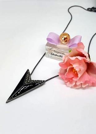 Цепочка с кулоном треугольник с кристаллами черный элитная бижутерия pilgrim дания
