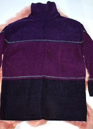 Свитер плюшевый велюр с люрексом с горлом фиолетовый черный debbie morgan (к042)