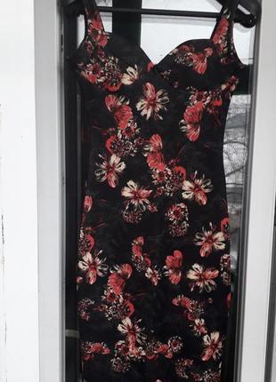 Платье миди с чашками футляр в принт цветы нарядное вечернее повседневное лето весна осень