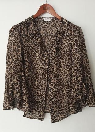 Трендовая шифоновая блуза в леопардовый принт