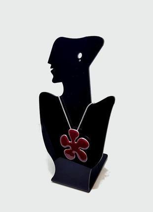 Цепочка с кулоном бордовая эмаль pilgrim дания элитная ювелирная бижутерия