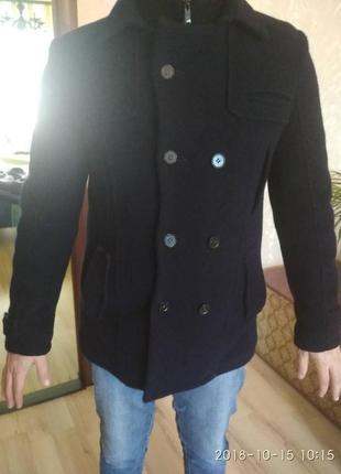 Теплое шерстяное мужское пальто бушлат hook wear