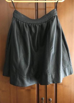 Чёрная кожаная юбочка miss selfridge