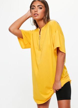 Трикотажное платье футболка желтого цвета свободного кроя missguided asos
