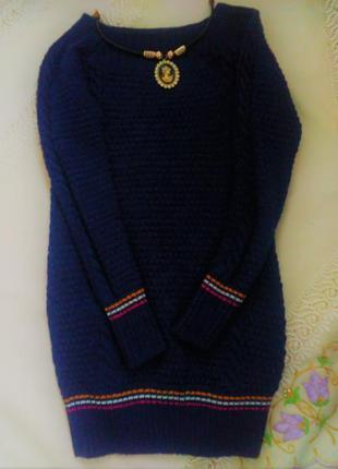 Зимнее теплое вязаное платье свитер туника 1+1=3 при покупке 2-х вещей третья в подарок