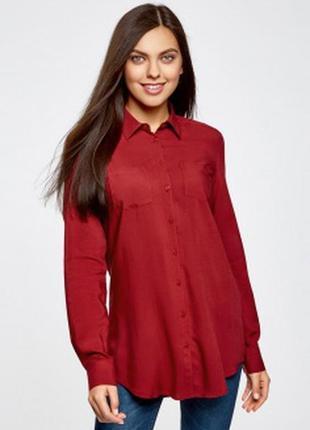 Шикарная красная рубашка бойфренд, 100% вискоза!