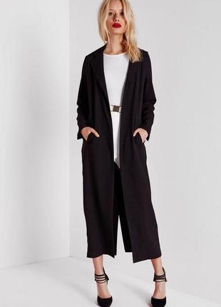 Длинное черное легкое весеннее макси пальто
