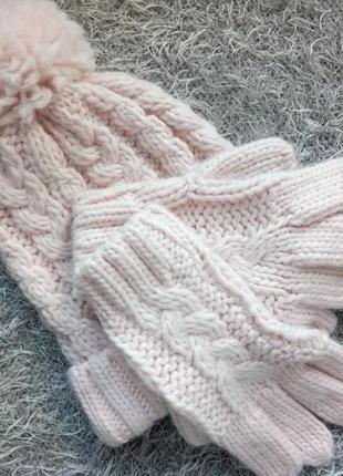 Женская шапка перчатки аксессуар головной убор