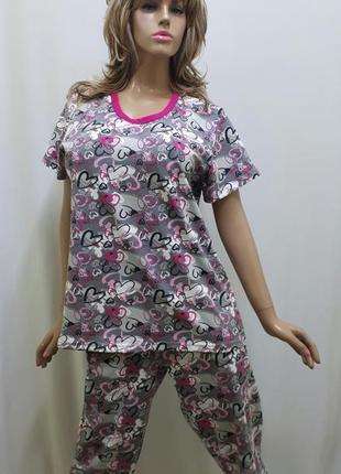 Женская пижама с бриджами большого размера