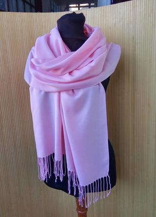 Розовый широкий палантин италия / шарф / хиджаб