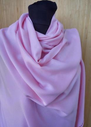 Розовый широкий палантин италия / шарф / хиджаб2