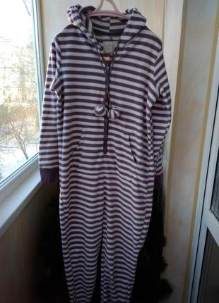 Теплая полосатая ылисовпя птжама кигуруми разиер 12