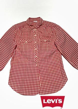"""Хлопковая рубашка в красно-белую клетку """"виши"""" от levis размер м/10/38."""