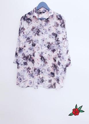 Шикарная рубашка оверсайз рубашка в цветочный принт