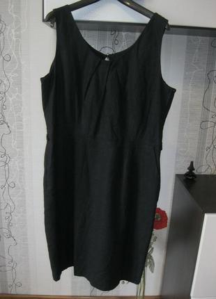 Лён вискоза натуральное маленькое черное платье большого размера xxxl 18 52