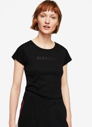 Базовая черная футболка mango xs